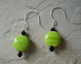 Earrings: Pistachio Green Murano Glass Discs, Swarovski Crystals, Sterling Silver