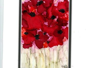 Red flower bouquet painting done with alcohol inks on yupo double matted