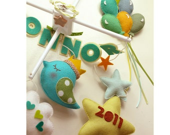 NEW Baby Story, Custom Personalized Baby Mobile with Baby Name & Birth Date, Luxe Mobile Decor with Balloons, Hearts, Stars, Cloud, Bird