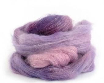 Purple kid mohair silk yarn, Perran Yarns knitting crochet wool, hand dyed lace yarn skein, Buddleia lilac pink variegated, uk seller
