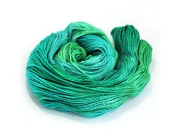Double knitting wool, hand dyed blue green DK organic merino silk, light worsted crochet yarn, Perran Yarns Woodland Glade, uk seller