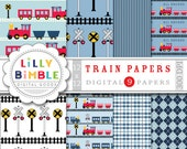 50% off sale Train Collection Digital scrapbook papers blue and red trains, boys birthday paper INSTANT DOWNLOAD