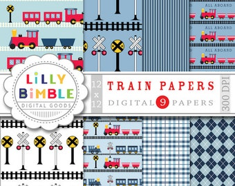60% off Train Collection Digital scrapbook papers blue and red trains, boys birthday paper INSTANT DOWNLOAD
