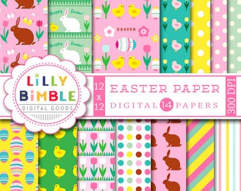 40% off Easter Digital Paper with rabbits, candy, eggs, chicks, bunny, flowers for scrapbook, cards Instant Download, Lilly Bimble