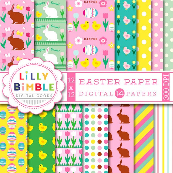 60% off Easter Digital Paper with rabbits, candy, eggs, chicks, bunny, flowers for scrapbook, cards Instant Download, Lilly Bimble