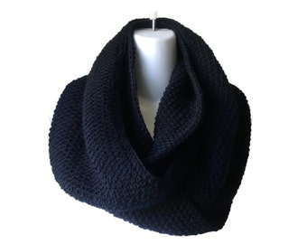 Black Circle Scarf Infinity Scarf Wool Blend or Pure Wool Loop Men Women CHELSEA Ready to Ship - Autumn Fall Winter Fashion