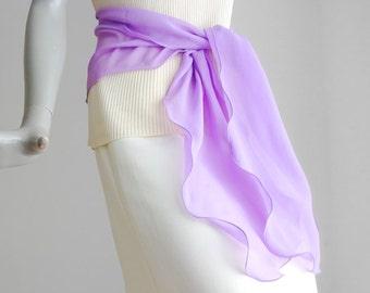 Lavender Sash Lilac Long Scarf, Long Chiffon Scarf, One of a Kind, Hand Dyed, Artisan Handmade, Mauve Sheer Scarf, Artinsilk, Ready to Ship