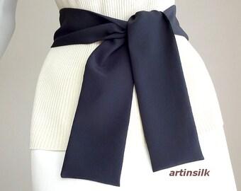 Black Silk Sash, Black Skinny Scarf, Black Silk Belt, Thin Long Scarf, Hat Band, Black Long Tie, Black Waist Tie, 3 sizes, Artinsilk.