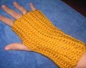 Crocheted Gold Fingerless Gloves