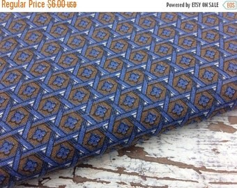 30% OFF SUPER SALE- Geometric Quilting Fabric- Vintage Quilting Cotton Fabric-Blue and Brown-Floral
