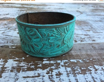 35% OFF CRAZY SALE- Tooled Leather Cuff--Tooled Floral Design--Hand Painted-aqua
