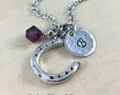 Personalized Horseshoe Charm Necklace, Hand Stamped Initial Jewelry, Silver Horseshoe Charm Necklace, Personalized Gift, Horse Necklace