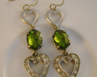 Heart Sounds - Vintage Rhinestone Hearts Green Faceted Beads Recycled Repurposed Assemblage Earrings