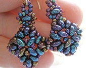 Hand Beaded Blue Iris - Earrings