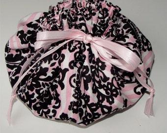Jewelry pouch pink black Parisian print travel drawstring bag jewellery organizer