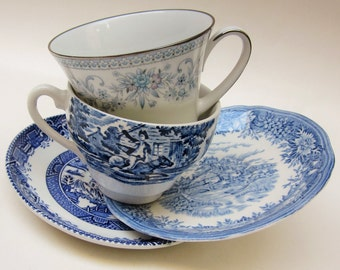Mismatch Pattern Tea Cups and Saucers, Mad Hatter Tea Party, Wedding Mixed Set of 2 in Blue Floral Willow Country Traditional (#BT29)