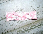 pink and white, top knot, headband, toddler bow, baby girl, baby turban, head wrap, big bow, knit head band, jersey bow, infant bow, 3-6 mo