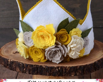 Yellow/White Felt Flower Crown for Birthday/Dress-Up: Flower Cluster with crocheted trim, wood button, and elastic closure