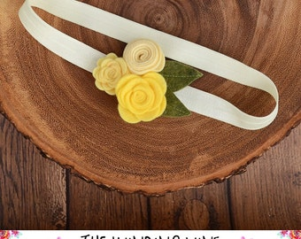 Yellow Felt Flower Headband/Clip/Barrette for Baby, Child, Teen, or Adult - Custom Elastic