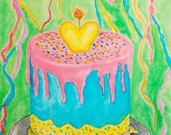 "Cake Celibration, Watercolor Painting, 9x12"", Fine Art, Water Color Paintings, Original Art Painting"