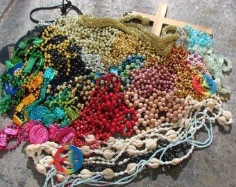 3 pounds Mardi Gras Shells Beaded Necklaces Jewelry Junk Lot Colors Art Crafts Mosaic Supply
