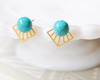gold plate southwest style modern turquoise post earrings - tribal geometric triangles