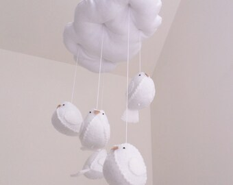 Baby mobile - all white mobile - birds and cloud - wool felt - gender neutral nursery decoration