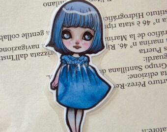 Bookmark - Laminated - Blythe - Doll - Anime - Chibi - Kawaii - Blue