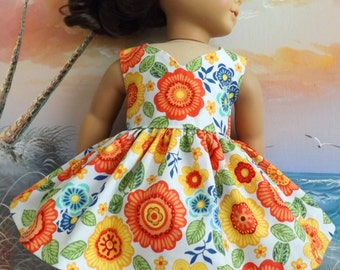 American Girl Doll Dress Handmade Orange Mod Florals With Curved V Neckline NEW