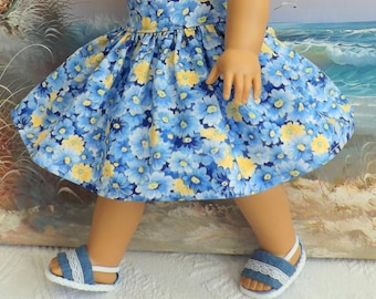 18 Inch Doll Skirt Clothes Blue White and Yellow Floral Very Fully Gathered 50s Style will fit AG
