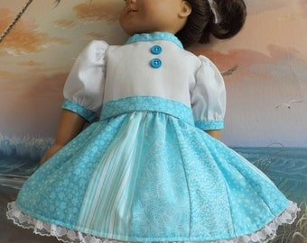 American Girl Doll Dress Quilt Inspired  Light Turquoise Florals with White Lace Accents Medley OOAK