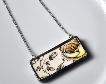 Broken China Jewelry Bar Necklace - Black White and Yellow