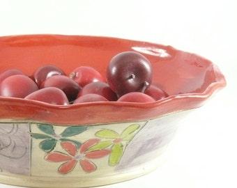 Pie Baking Pan in Woodland Forest Design - Kitchen bakeware - Red Pie Plate - Pie Dish pottery and ceramics,  Quiche Baker 451