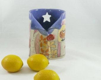 Pottery Desk Organizer - Pencil Cup, Oval Vase, soap dispenser, toothbrush holder, pen holder , desk accessories, eyeglass holder 506