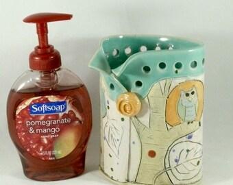 Pottery Pen Holder, Flower Vase, Pencil Holder,  handmade ceramic pump soap dispenser, lotion / toothbrush holder, bathroom office decor 538