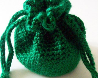 Crochet Drawstring Bag, Green Crochet Pouch, Crochet Drawsting Pouch, Crochet Bag, Small Drawstring Bag, Handmade Bag