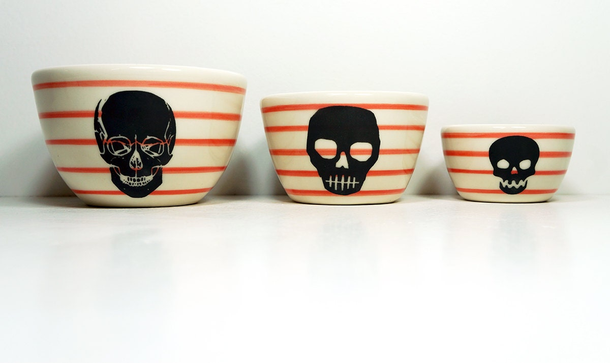 The Urban Set of Skulls on red-orange pinstripes. Made to Order / Pick Your Colour