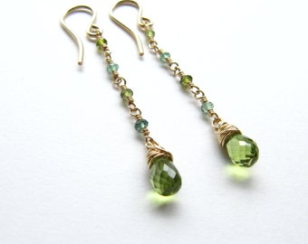 Peridot Green and Blue Tourmaline Wire Wrapped Earrings