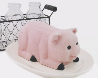 Pink Pig Ceramic Butter Dish Lid and Oval Tray In Soft White for Country Farm Kitchen Decor or Dining Table Use