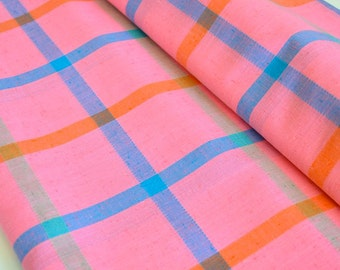 Vintage Cotton Fabric Woven Bright Pink w/ Blue Green Orange Medium Scale Grid by the Yard