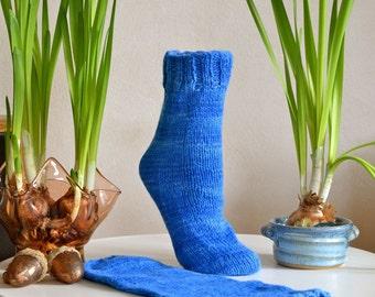 Hand Knit Bed Socks Baby Alpaca & Royal Baby Suri Brilliant Blue