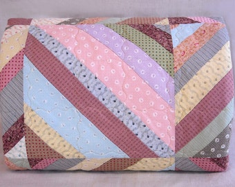 Twin Size Quilt - 71.5 x 95.5 - String Quilt - Vintage Look - Soft Pastel Reproduction 19th Century Prints - Handmade