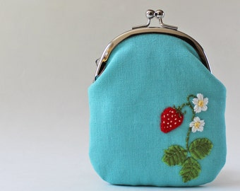 Card case / coin purse - strawberry on aqua, embroidery, kiss lock coin purse, business card case, card holder, flower, aqua blue, red