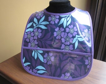 WATERPROOF WIPEABLE Baby to Todller Plastic Coated Bib Deep Purple Flowers