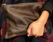 Leather Zipper Clutch/ Leather Clutch Bag/ Leather Bag/ Travel Organizer/ Cord Organizer
