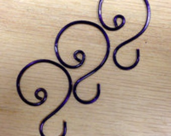 "Small Purple (1 1/8"" to 1 1/4"") Ornament Hooks, set of 12"