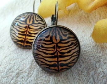 Small Tiger Stripe leverback earrings - bronze *Free Shipping*