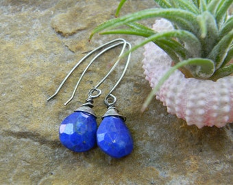 blue lapis briolette earrings with oxidized silver