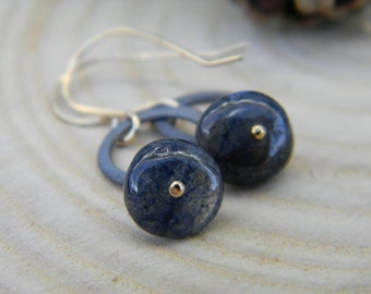 Blackened silver petite rings with deep blue labradorite - gold filled earwires
