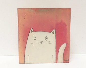 Tiny Kitty -  Original Painting on Wood